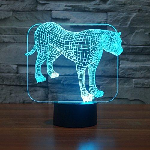 3D Leopard Illusions LED Lampen Tolle 7 Farbwechsel Acryl berühren Tabelle Schreibtisch-Nacht licht mit USB-Kabel für Kinder Schlafzimmer Geburtstagsgeschenke Geschenk