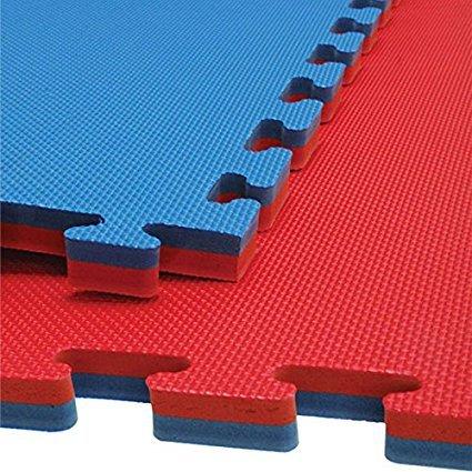Fußmatte Bodenbelag, Gym (M.A.R International Ltd einfach montieren wendbar Interlocking Puzzle Bodenmatten Taekwondo Thai Boxing Karate Kampfsport Sport Gym Bodenbelag Club blau/rot 40mm Stärke x 1m x 1m (quadratisch) blau/RE)