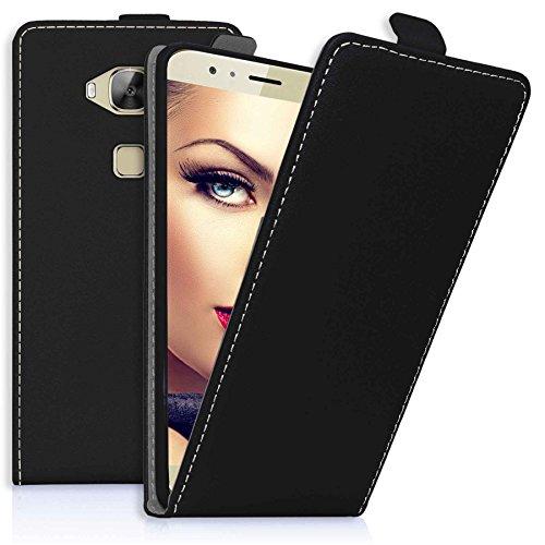mtb more energy® Flip-Case Tasche für Huawei G8 (Rio) | Huawei GX8 (5.5'') | Schwarz | Kunstleder | Schutz-Tasche Cover Hülle
