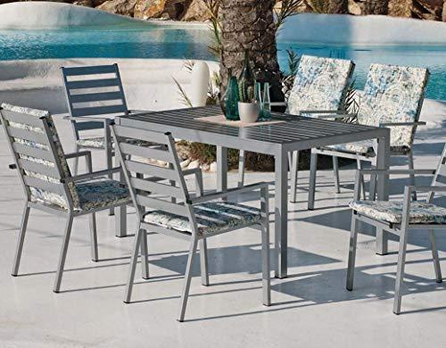 Hévéa Table et fauteuils en Aluminium 6 Personnes Saphir