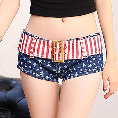 qnqa Taille Haute Short, modèle Jeans, _ Brève slim d'été pour fille slim tailliertes Jean Curling Largeur jambe, M