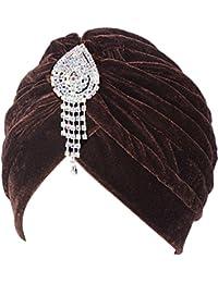 Fascigirl Mujer Turbante Suave Torcido Sombrero Turbante Plisado con Broche de diamante