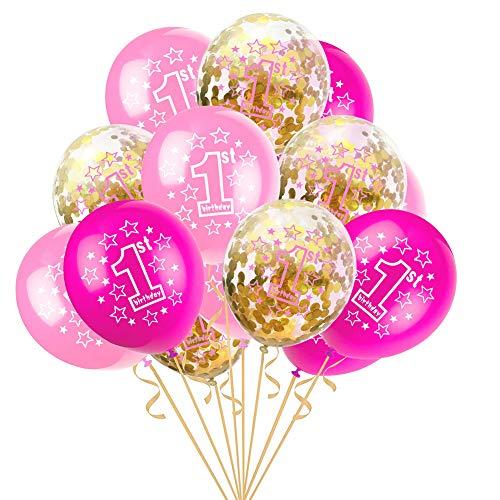 tex-Luftballons 1 Jahr alt Konfetti-Luftballons für Hochzeit Geburtstag Party Dekoration mit 1 Band ()