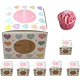 6 Pack Luxury Single Cupcake Boxes - Great For Giving Cake As A Present (Heart)