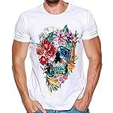 T Shirt Herren, HUIHUI Coole O-Ausschnitt Kurzarm Sweatshirt Slim Fit Basic uv Polo-Shirt Mode Sport Oberteile Oversize Bench Tops Schädel Drucken Sommer Freizeit Hemd Poloshirt (M, Weiß 2)