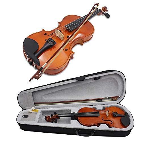 Umiwe Violino in Legno Massello Full Size 1/4 per Studenti Principianti con Custodia, Guscio Duro, Acero, Resina, Fiocco, Kit Violino, Regalo per Bambini Studenti