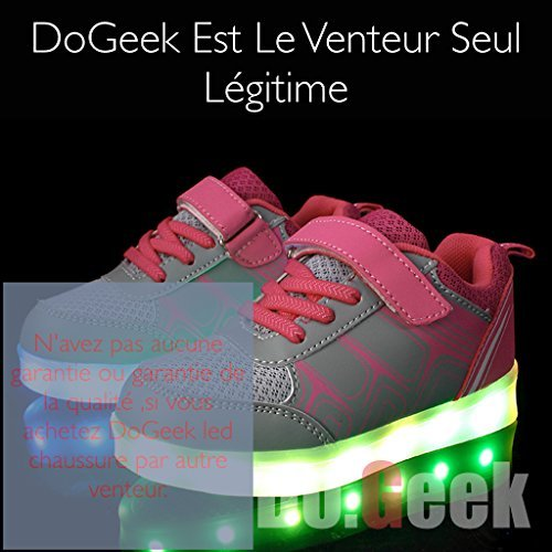 DoGeek Enfant LED Chaussure 7 couleurs Baskets Lumineuse Filles Gar?on Chargeur USB Chaussure Lumineuse Rose