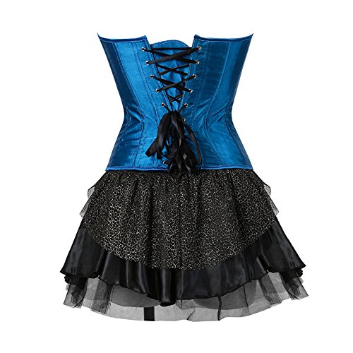 FeelinGirl Damen Gotik Corsagenkleid Bustier Vintage Korsage Corsage mit Rock Burlesque Petticoat Kostüme Pfau Pattern Blau-Schwarz