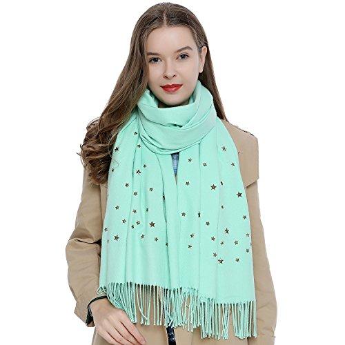 Bufanda grande para mujer 180 x 65 cm con diseño de tachuelas remaches...