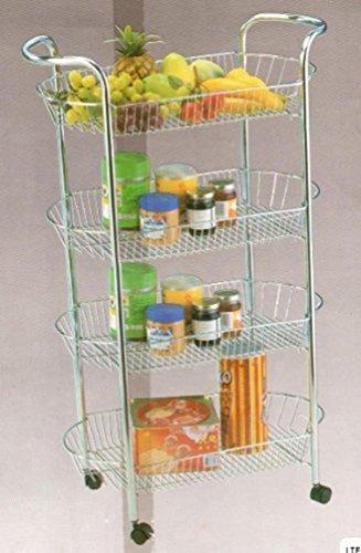 h6g-c57-jtk 4Etagen Küche Chrom Trolley Gemüse Storage Rack, weiß - Weiße Küche, Trolley