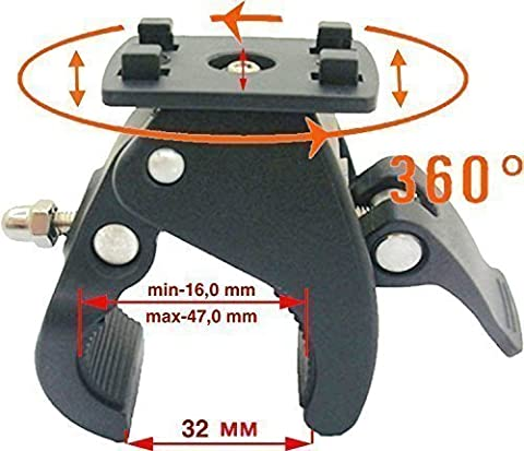 LKH7 Quick Release Clamp 4 Hook Mount Universal Bycicle Motorcycle Pushchair Stroller Clip, suitable e.g. for: most HR Herbert Richter Hama Brodit iGrip LKB29L etc. Quick-Fix Adapter tp mount e.g. von Smartphone Dashcam iPhone 6 Apple Samsung S6 EDGE Motorola LG SONY carcam
