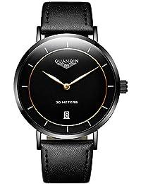 GUANQIN hombres del diseño simple Piel banda reloj de pulsera para hombre Classic Fashion Business Casual