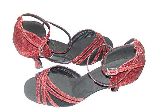 Pobofashion Damentanzschuhe mit fünfeckigem Verschluss blau/rosa/rot für lateinamerikanische Tänze (EU39, Rot)