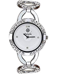 Rabela Stone Studded Analogue White Dial Women's Watch - RABMOTI