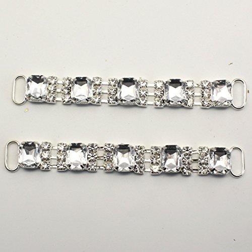 10 mm, confezione da 100 connettori a forma di Bikini Swimwear pulsanti, con catena in metallo e brillantini e fibbia per costumi da bagno