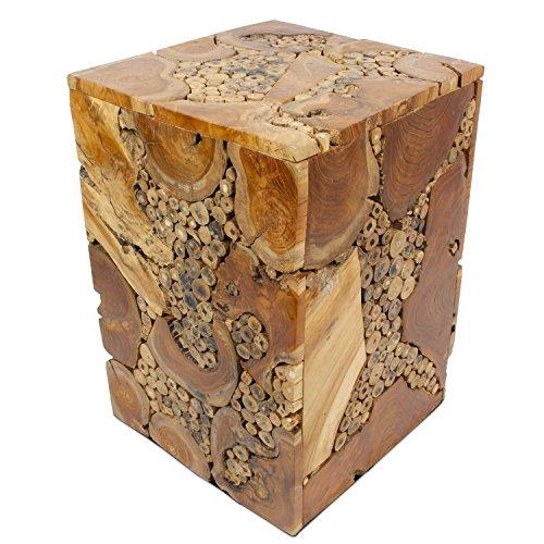 floristikvergleich.de Hocker Holzhocker Beistelltisch Nachttisch Nachtkonsole Ablage Blumenhocker 35 x 35 cm Teakholz Dunkelbraun