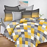 #6: Ahmedabad Cotton 144 TC Cotton Double Bedsheet with 2 Pillow Covers - Yellow, Grey