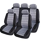 XtremeAuto® 5060-Type6 Universal Fit Checked Black + White Car Seat Covers Type 6, includes Xtremeauto Sticker