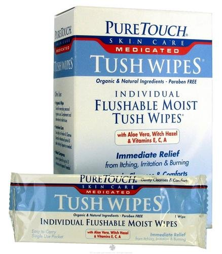 PureTouch Skin Care, Medicated Tush Wipes, 24 Single Use Packets, 5 in x 8 in Each -