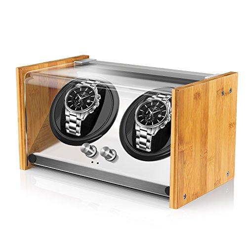 Watch Winder Smith® Uhrenbeweger für 2 Automatikuhren, Geeignet für 2 großen Herren Uhren, Sehr leiser Motor, in beide Richtungen drehbar (Linkslauf & Rechtslauf), aus Bambusholz und Metall