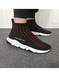 AIMENGA Mesh Sneakers Autumn Net Shoes Mens Elastic Shoes Students High Shoes Mesh Breathable Socks Fly