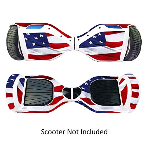 Skin for Self Balancing Scooter Stickers for Scooter Electric Hoover boards Skateboard Decal for Self Balance Electric Skateboard Bluetooth - Cover Fit Real 2 Wheel Scooter - Case Stickers for Motorized Longboard Drifting Boards - Stars & Strips