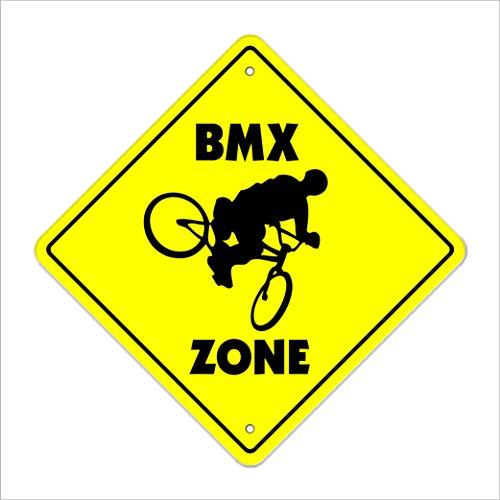 SignMission BMX Crossing Sign Zone Xing  -  50,8cm Hoch Fahrrad Rahmen Bars Race Helm Radfahren Biker Fahrräder Racing