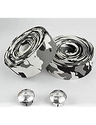 TOPCABIN - Cinta para manillar de bicicleta, gel, diseño de camuflaje con tapones reflectantes, White (a pair)