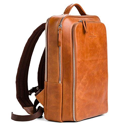 OFFERMANN Lederrucksack Backpack for Men klassisch minimalistisch inklusive 15 Zoll Laptopfach 13 Liter braun