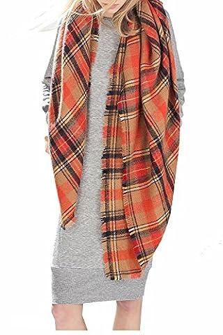 Zando Soft Warm Tartan Plaid Scarf Shawl Cape Blanket Scarves Fashion Wrap Orange