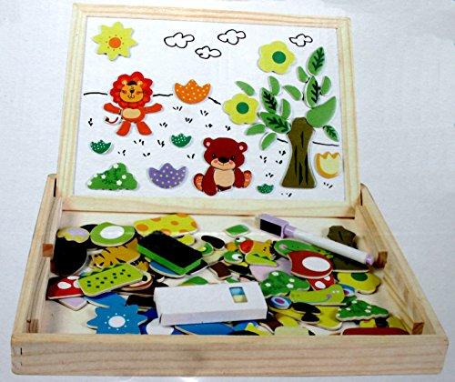 Preisvergleich Produktbild AeMBe - Spielzeug - Magnet aus Holz Zeichnung Maltafel Lernspielzeug Staffelei Schreiben - Leute, Tiere, Magnetformen und Holzkasten für Kinder ab 3 Jahren