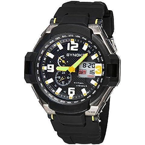 multi funzione impermeabile doppio digitale al quarzo led orologio militare sport/51.16mm* 16.25mm (Giallo) - Omega Cinturino In Gomma Blu