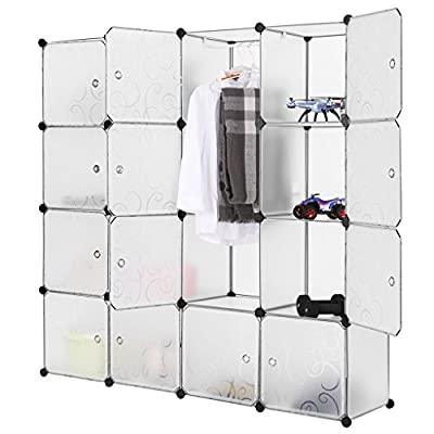 LANGRIA Interlocking Plastic Wardrobe Cabinet 16-Cube Storage and Organizer with Translucent Curly Patterned Doors for Personal Items, Clothes, Shoes, Toys and Books, 147 x 37 x 147cm, White - cheap UK light shop.