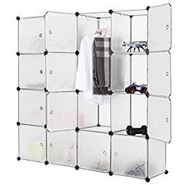 LANGRIA 16-Cube Armadio Organizzatore per Magazzinaggio con Porte Traslucide e Design Cube per Abbigliamento, Scarpe…