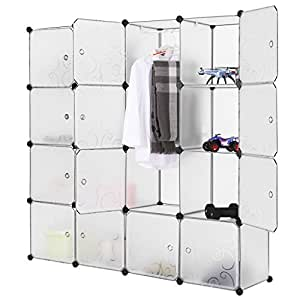 LANGRIA Interlocking Plastic Wardrobe Cabinet 16-Cube Storage and Organizer with Translucent Curly Patterned Doors for Personal Items, Clothes, Shoes, Toys and Books, 147 x 37 x 147cm, White