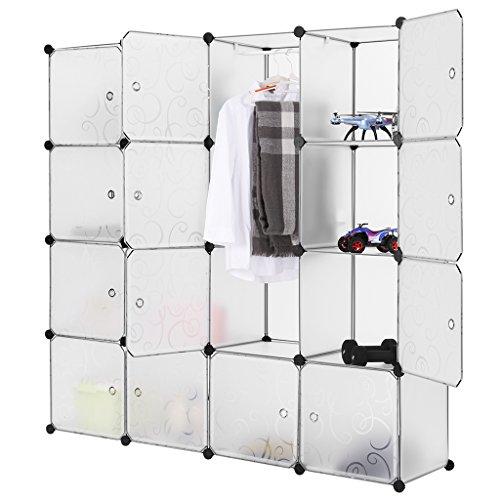 LANGRIA Stufenregal 16-Kubus Modular Lagerregal Garderobenschrank Kleiderschrank mit Transluzenten Platten für Kleidung, Schuhe, Spielzeug und Bücher