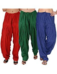 ROOLIUMS ® (Brand Factory Outlet) Punjabi Patiala Salwar Combo 3 - Free Size (Red, Dark Green, Blue)