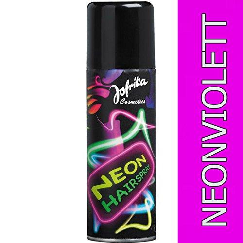 e Haarspray neonviolett Neonfarbenes Hairspray Disco Farbspray Motto Party Haar Farbe Mottoparty Neonspray Silvester Karneval Accessoires (Violett Haar Spray)