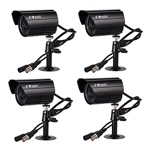 Foxpic® Home Video HD H.264 960H Motion Recording DVR CCTV Security System with 24 IR LED PAL Weatherproof Day Night Vision 700TVL High Resolution Indoor Outdoor Monitoring Camera Surveillance Camera  Ideal for Home Shop Warehouse Office (Pack of 4 Bullet Cameras)