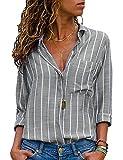 ASKSA Damen Bluse V-Ausschnitt Oberteile Streifen Langarm Knopf Hemdbluse Tunika Tops mit Tasche (A-Grau, XX-Large)