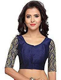 54de6f6ed1bbe STUDIO SHRINGAAR WOMEN S BROCADE SLEEVE READYMADE SAREE BLOUSE WITH ROUND  NECK