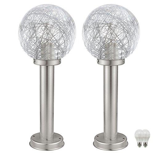 2er Set LED Außen Lampen Glas Kugel Sockel Steh Leuchten Garten Weg Beleuchtung Edelstahl IP44