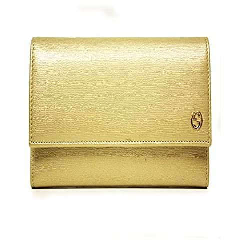 Gucci Betty Gold Leather French Flap Wallet 309704