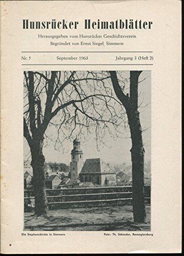 Jakob Kern, der Meister des Grabmals von Herzog Johann I; Die Veste Laubach; Das Gericht Pleizenhausen u.a. in: HUNSRÜCKER HEIMATBLÄTTER, Nr. 5 September 1963