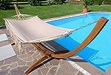 360cm Hängemattengestell GRENADA-BRAUN aus Holz Lärche mit Stab Hängematte NEU: