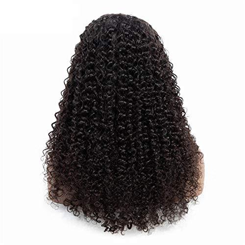 WIGM Echthaarperücke Brasilianisches tiefes lockiges Haar realistische volle lockige Spitzeperücke für schwarze Frau 26inch 16Zoll Kinky Curly Echthaar Tressen Gewellt Haare Weft 100% Echt (Kinky Rote Locken Perücke)