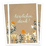 10 Dankeskarten - Herzlichen Dank! | Beige Orange mit Blumen | Danksagungskarten Set aus hochwertigem Recyclingpapier | stilvoll Danke sagen nach Hochzeit, Geburt, Taufe, Konfirmation & Jubiläum