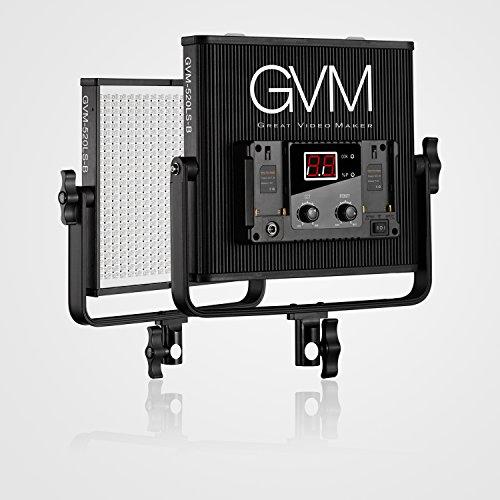 GVM LED Fotografie Light Beleuchtung panel Kontinuierliches 520LS CRI97 + TLCI97 + 18500lux Dimmable Zweifarbiges 3200K-5600K Video Licht für im Freien Interview Studio Portrait Photographic (520LS-B) (Portrait Panel)