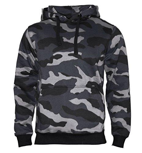 ROCK-IT Apparel® Kapuzenpullover Hoodie Workerhoodie Kapuzen Sweatshirt - Herren - Größe XS-5XL - 380g hochwertig und sehr Soft - Original von Rock-IT - Camouflage Schwarz/Blau X-Large Camouflage-fleece-pullover