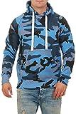 Herren Pullover Camouflage Hoodie Blau Kapuzenpullover Pulli mit Kapuze, Größe:L, Farbe:Blau